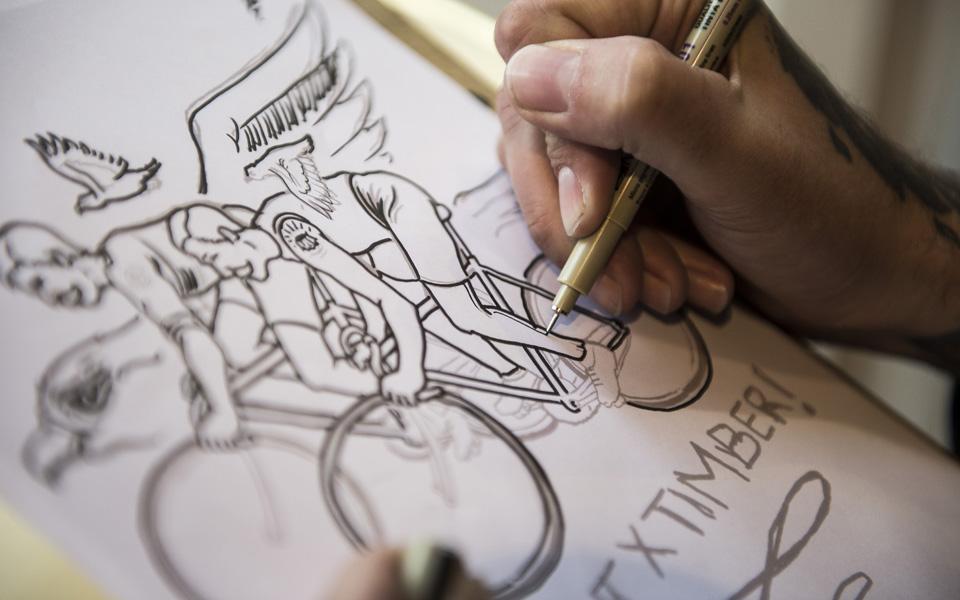 Visiting Alex SINGER workshop with californian artist Timber
